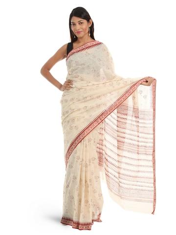Fabindia Cream & Brown Hand Printed Sari