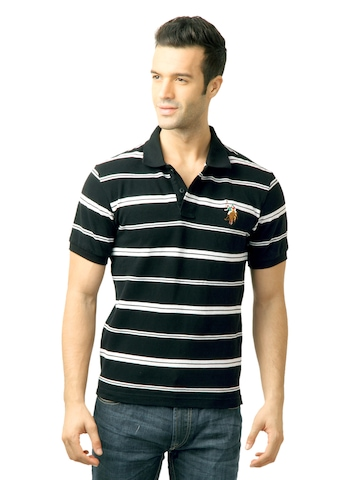 U.S. Polo Assn. Men Stripes Black  Polo Tshirt