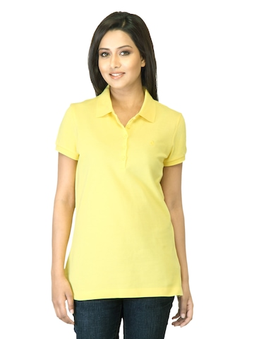 United Colors of Benetton Women Yellow Polo T-shirt