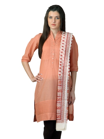 Fabindia Off White Chanderi Dupatta