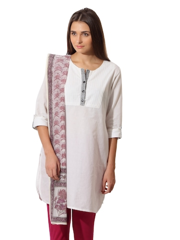 Fabindia Women Cream Chanderi Stole