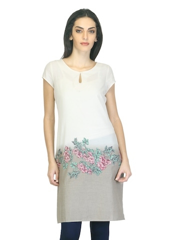 W Women Printed Cream Kurta