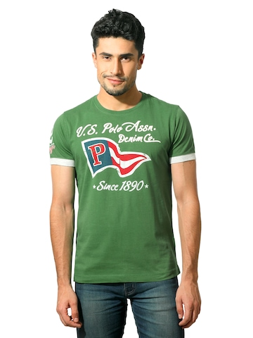 U.S. Polo Assn. Men Printed Green T-Shirt