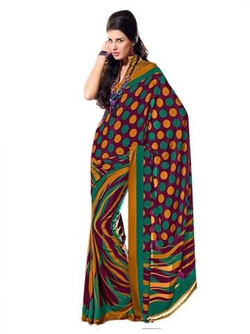 Prafful Purple & Green Printed Sari