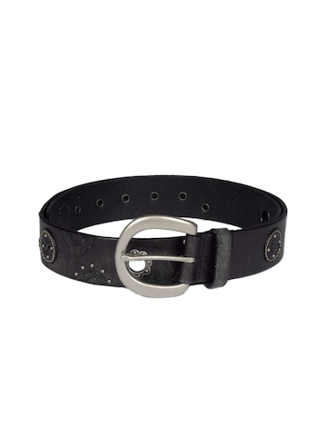 Fossil Women Black Floral Grommets Belt