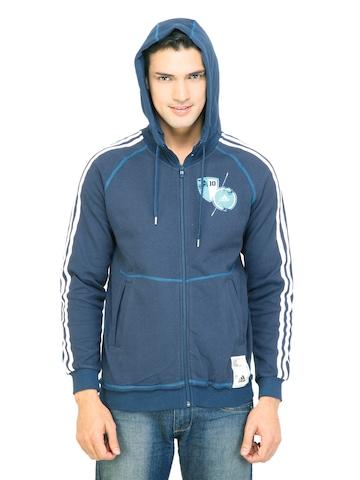 Adidas Men Hooded  Blue SweatShirt