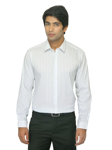Arrow New York Men White Striped Slim Fit Shirt