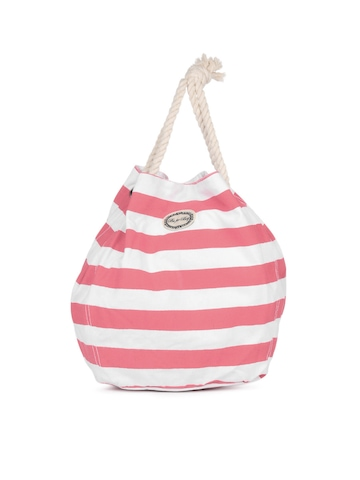 Be For Bag Women White And Pink Striped Tote Bag