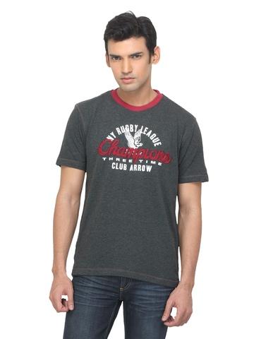 Arrow Sport Men Printed Charcoal T-shirt