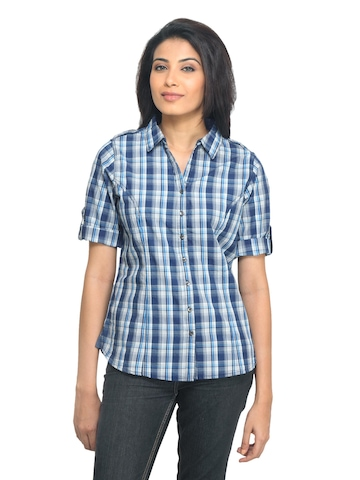 Scullers For Her Women Check Navy Blue Shirt