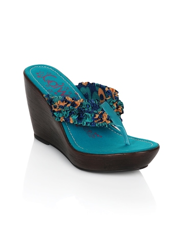 Catwalk Women Ruffles Blue Wedges