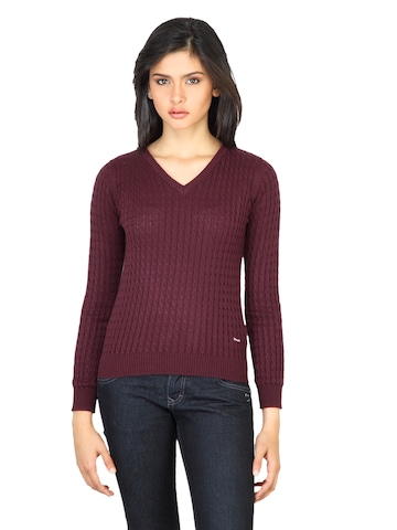 Wrangler Women Cable Red Sweater