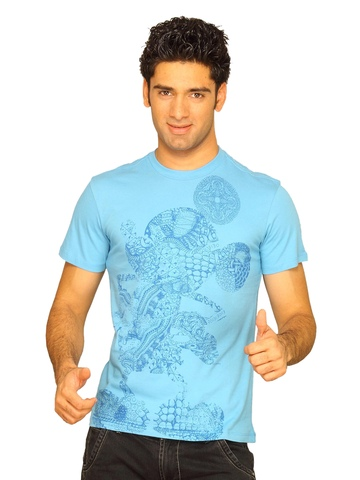 Mickey Men's Textured Silhoutte Heritage Blue T-shirt