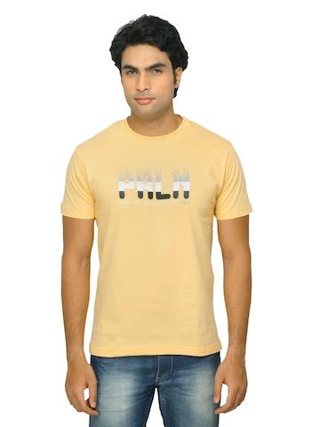 Proline Men Printed Yellow T-shirt