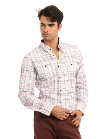 French Connection Men White & Purple Check Shirt