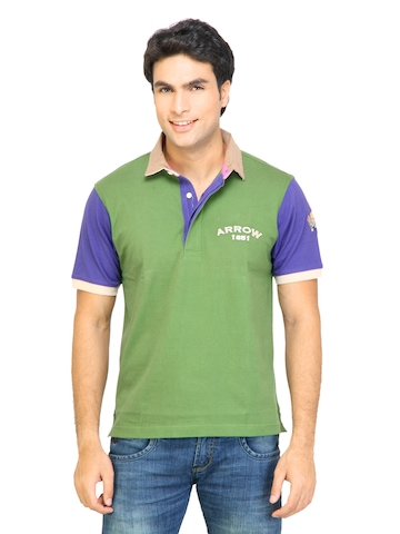 Arrow Sport Men Solid Green Polo Tshirts