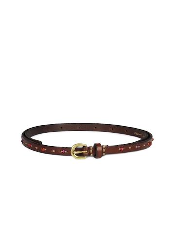 Fossil Women Brown Skinny Mini Belt