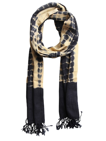 Femella Women Yellow & Navy Blue Scarf