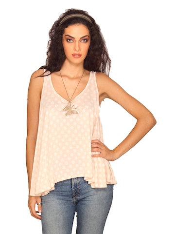 Forever New Women Peach With Polka Dots Top