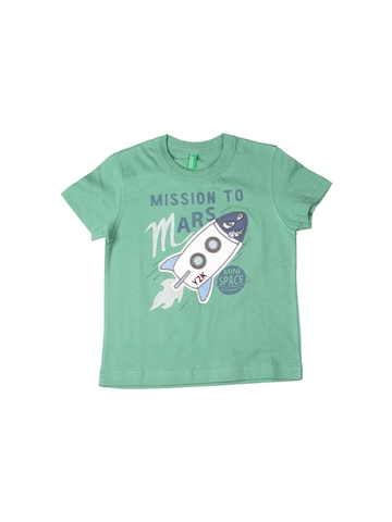 United Colors of Benetton Kids Boys Green Printed T-shirt
