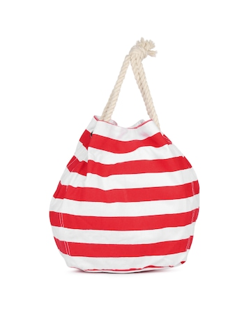 Be For Bag Women White And Red Striped Tote Bag