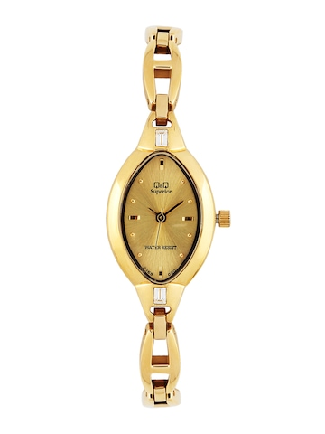 Q&Q Women Gold Dial Analog Watch
