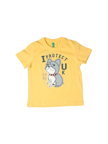 United Colors of Benetton Kids Boys Yellow Printed T-shirt