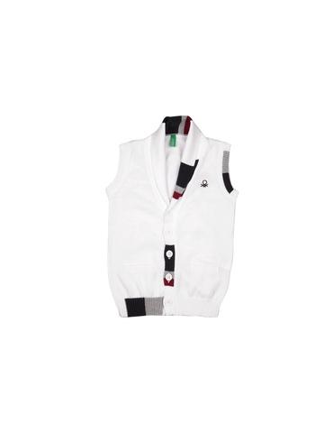 United Colors of Benetton Boys White Waistcoat