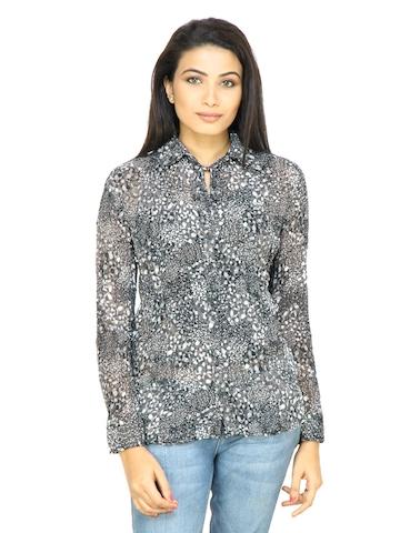 s.Oliver Women Printed Black Shirt