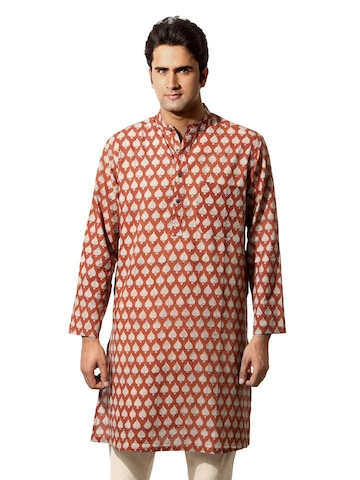 Fabindia Men Printed Red Kurta