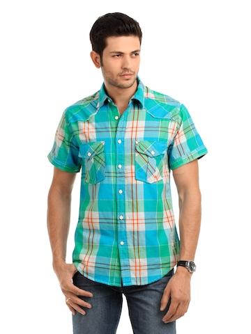 Jack & Jones Men Blue & Green Shirt