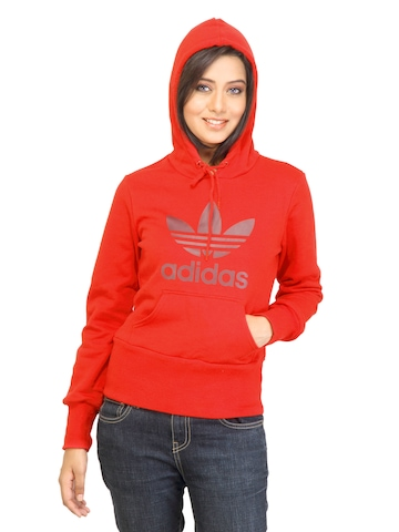 Adidas Originals Women Trefoil Hoodie Red Sweatshirt