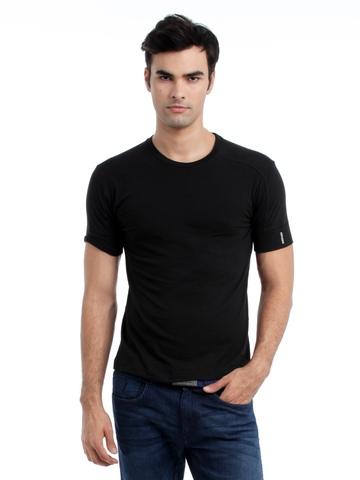 Hanes Men Black Duo Dry Body Fit Crew T-shirt