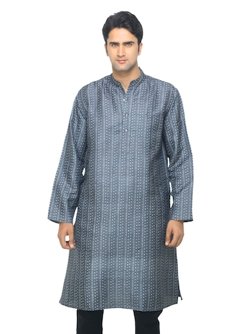 Fabindia Men Grey Printed Silk Kurta