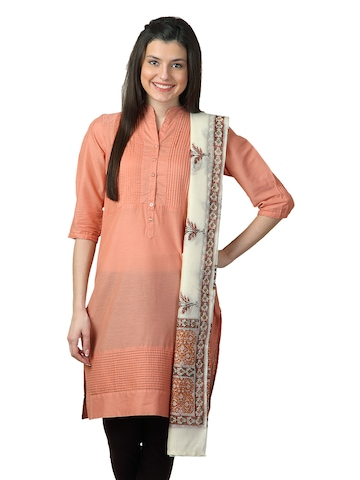 Fabindia Women Printed Off White Dupatta