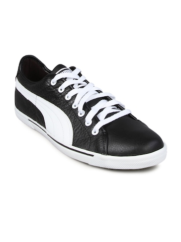 Puma Men's Benecio Leather Black White Shoe
