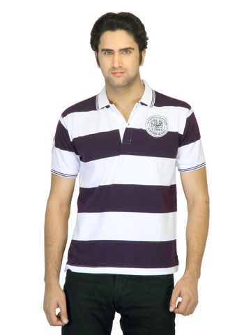 Scullers Men Striped Purple T-shirt