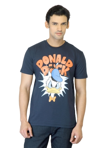Disney Men Navy Blue Printed T-shirt