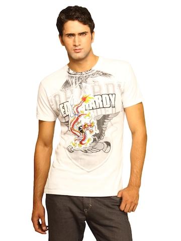 Ed Hardy Men's White Blue Dragon T-shirt