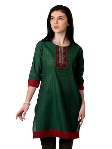 ALayna Women Green Kurta