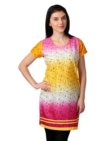 ALayna Women Pink & Yellow Kurta