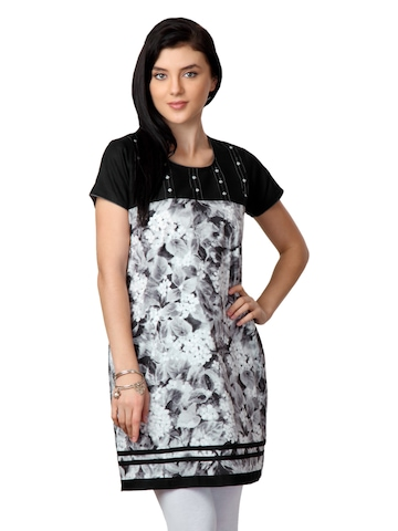 ALayna Women Printed Grey Kurta