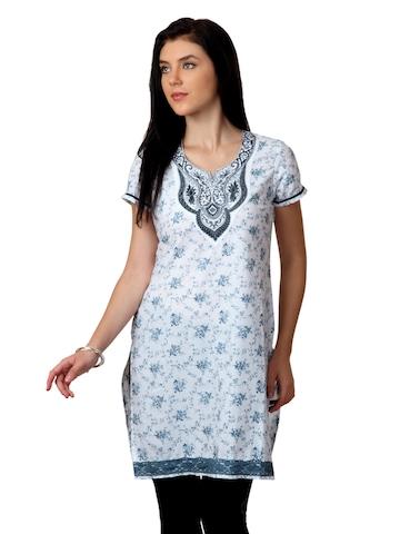 ALayna Women Printed White Kurta