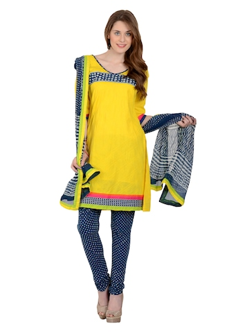 Aaboli Women Yellow & Blue Cotton Unstitched Dress Material at myntra