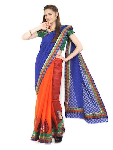 Aaboli Royal Blue & Orange Art Silk Fashion Saree at myntra