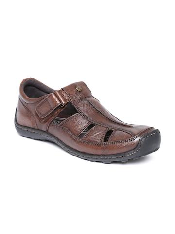 Alberto Torresi Men Brown Leather Sandals at myntra