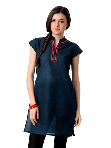 Alma Women Dark Blue Kurta