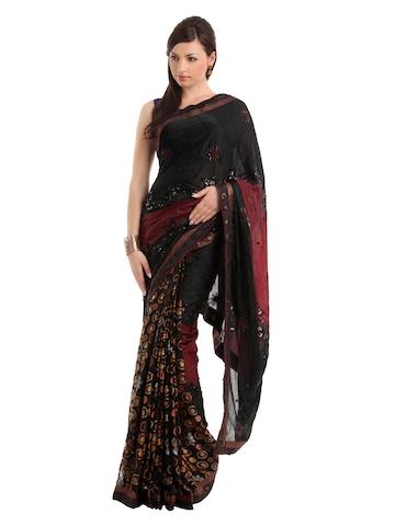 Ambica Black Sari