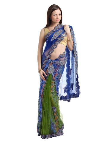 Ambica Blue One Minute Partywear Sari