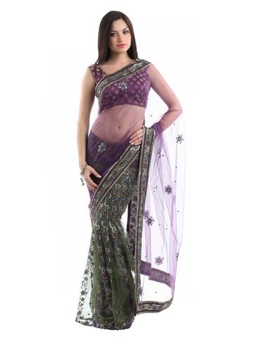 Ambica Purple One Minute Sari